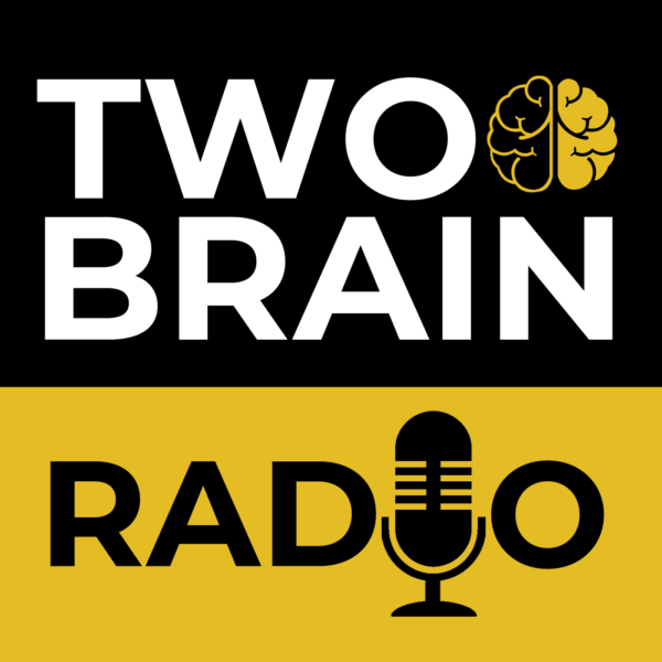 The black and gold Two-Brain Radio podcast logo.