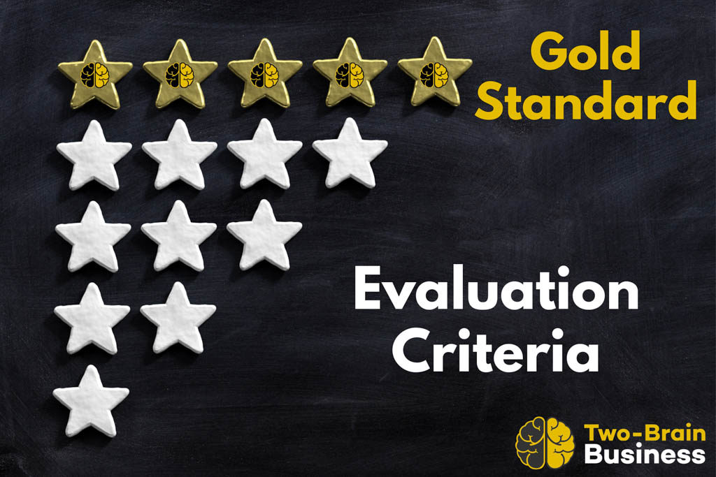 "Several lines of white stars below a larger line of 5 gold stars next to the words ""gold standard"" from Two-Brain Business."