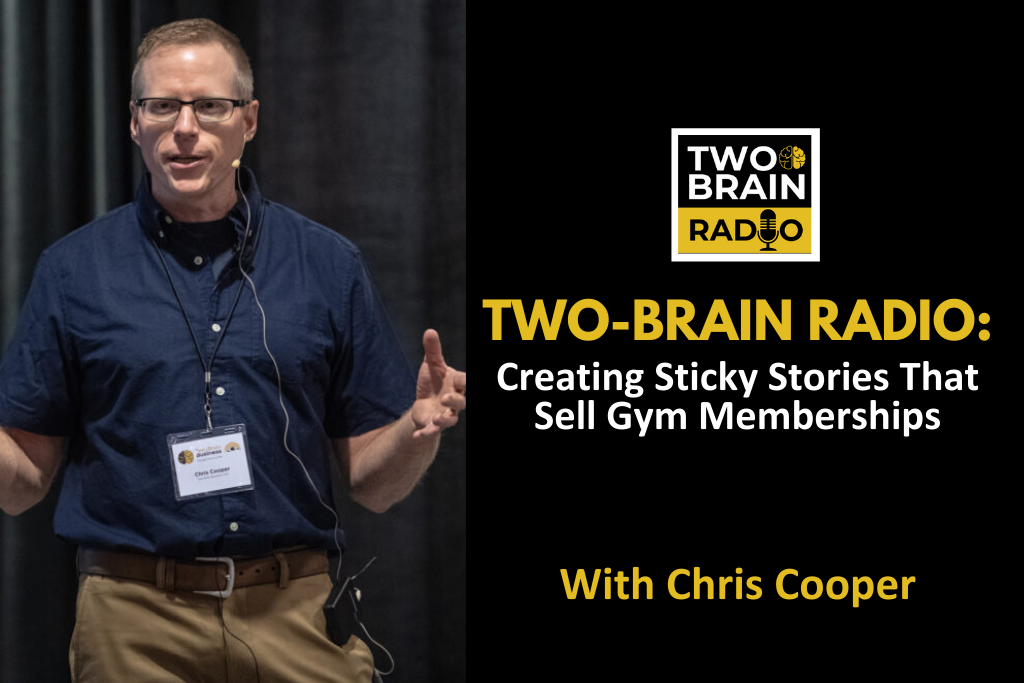 "Picture of Chris Cooper with title text reading"" Creating Sticky Stories That Sell Gym Memberships: Chris Cooper."""