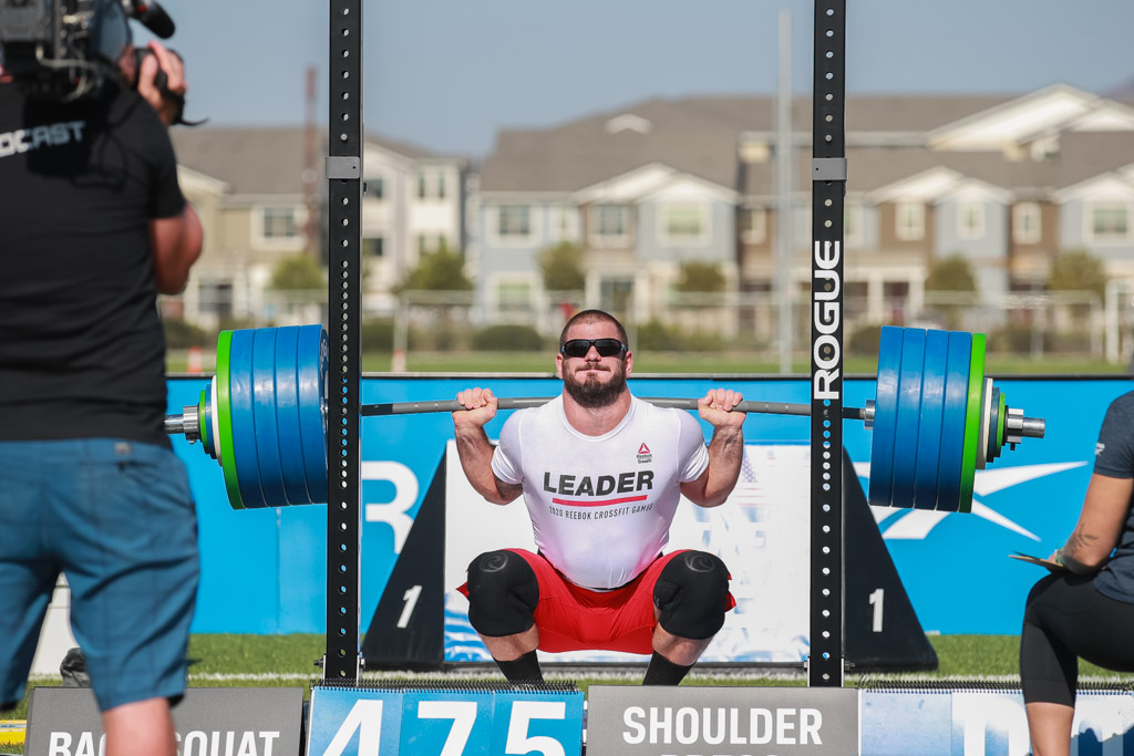 Mat Fraser squats close to 500 pounds at the 2020 CrossFit Games.